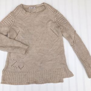 Pink Rose Womens Soft Sweater Oatmeal Tan size Med